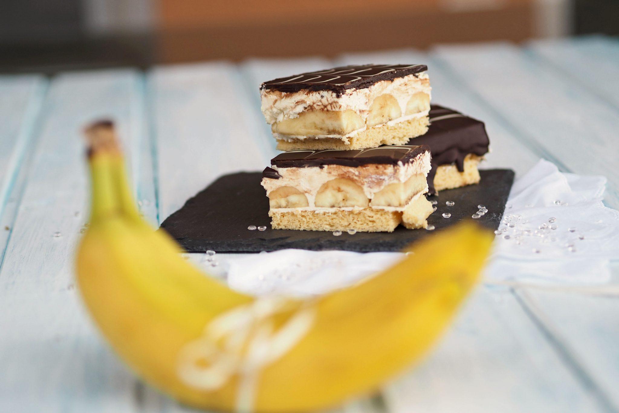Bananenschnitten Vanillecreme Blechkuchen