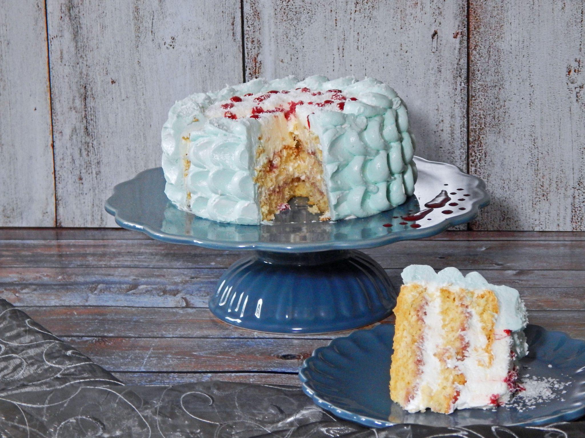 Kokos Swiss Meringue Himbeercurd Torte