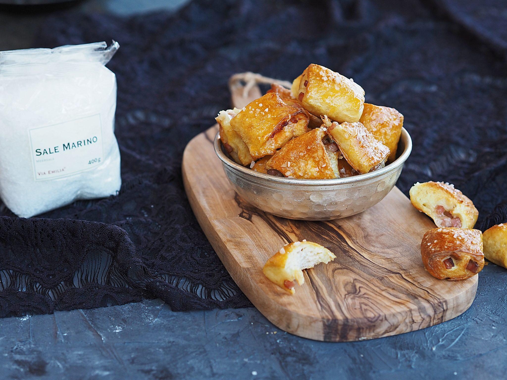 Pretzel bites mit Schinken und Käse