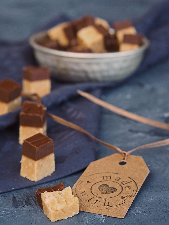 Erdnussbutter Fudge mit Schokolade
