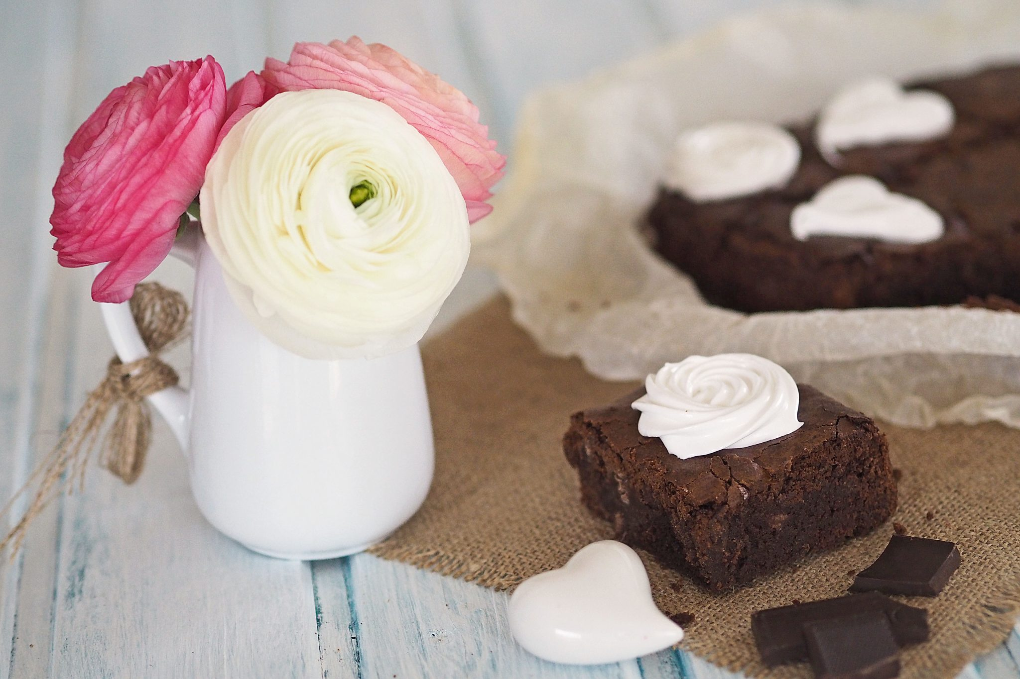 Brownies mit Schaum